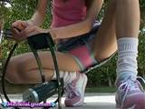 michelle lynn upskirt flashing panties in her bike helmet - Pichunter