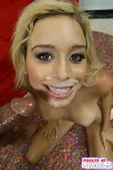 Real massive facials on a very hot blonde babe from Fucked Up Facials