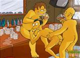 The Simpsons cartoon porno actions with gay characters having fun